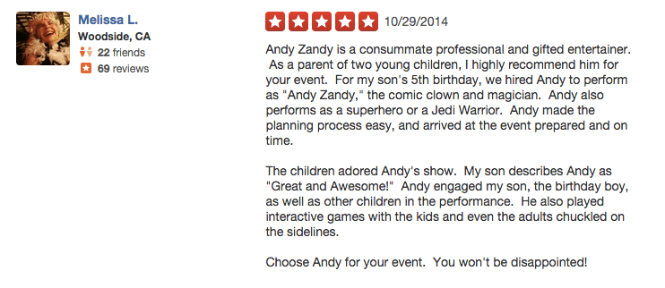 kids party entertainer reviews 5 - Andy Zandy