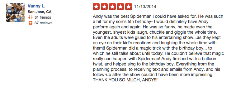 kids party entertainer reviews 3 - Andy Zandy